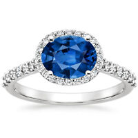 1.95 Ct Genuine Diamond Engagement Ring 14K Real White Gold Sapphire Size N P Q