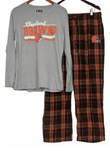 NFL Women's Pajama Set Long Slv Top Flannel Pants Cleveland Browns XXXXL A387687
