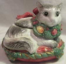"1992 Fitz & Floyd Porcelain Christmas Cat On Pillow Trinket Box, 3.5"" Tall, Used"