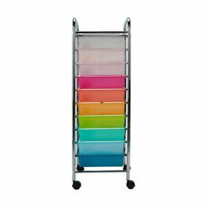 10 Drawer Trolley Laundry Storage Unit Bathroom Shelf Office Study Craft Art M1.