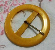 LOT 7 ANCIENNES BOUCLE DE CEINTURE galalithe jaune moutarde effet nacre 7.6cm C1