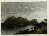 Mount Tom Connecticut River Mass c.1850 engraved view print lovely hand color