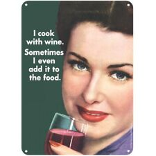 I Cook With Wine Metal Sign. Home Decor Gift Vintage Humour Retro Kitchen