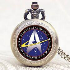 Star Trek United Federation Of Planets Quartz Pocket Watch Necklace Mens Gift