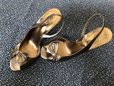 Vintage 1960's Saks Fifth Avenue Gold Leather Peep Toe Heels Shoes Italy 6.5B