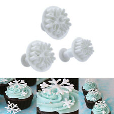 3Pcs Six Snow-Shaped Flower Cake Fondant Cookie Decorating Plunger Mold Tools