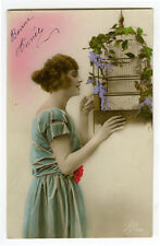 1910s Pinup Glamour PRETTY LADY w/ BIRD in Cage Birdcage tinted photo postcard