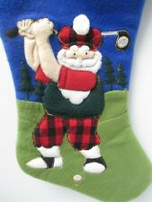 "Prima Creations Santa Claus Golfer Golfing Christmas Stocking About 20"" Long"