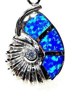 "Silver 925 SF Pendant Blue Lab Fire Opal & White Topaz SHELL 7/8"""