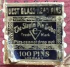 Pin+Cube+Straight+Pin+Holder%2C+Has+97+Original+Glass+Head+Toilet+Pins