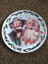 "Emmett Kelly Jr Tis The Season Signed Limited Edition Plate 8.5"" Christmas Santa"
