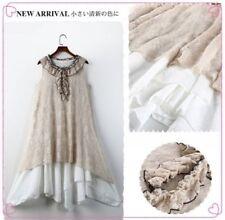 Mori Girl Sweet Lolita Lace Sleeveless Skirt Jumper Dress Washed Cotton Harajuku