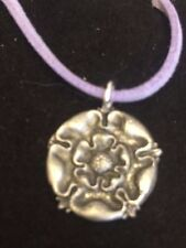 "TUDOR ROSE DR54 Made From Fine English Pewter On 18"" Purple Cord Necklace"