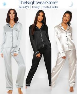⭐Ladies Satin Pyjama Set Short Sleeve Pjs Ladies Nightwear Ladies Silk Pj Soft ⭐
