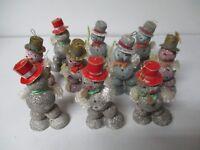 10 Wonderful Vintage Japan SNOWMAN Christmas Ornaments