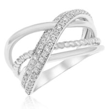 14K White Gold Pave Diamond Crossover X Negative Space Right Hand Cocktail Ring