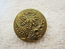 Vintage Gold Tone Metal Button Flower w Large Petals & Leaves 5/8 Inch