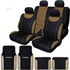 New Flat Cloth Black and Tan Car Seat Covers Floor Mats Full Set For Mazda