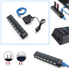 4/7 Ports USB 3.0 Hub w/ On/Off Switch + AC Power Adapter For Desktop/Laptop New