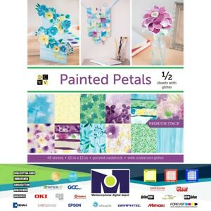 """DCWV®️PAINTED PETALS WITH IRIDESCENT GLITTER (48 SHEETS) 12""""X12""""  PS-016-00036"""