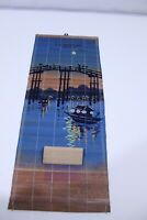 """Vintage 1928 Advertising Asian Roll Calendar Hand Painted 17 1/2"""" x 7 1/4"""""""