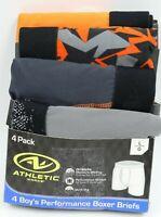 Athletic Works Boys 4 Pair Performance Boxer Briefs Underwear Size L NEW
