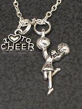"Cheerleader and Pom Poms Charm Tibetan Silver 18"" Necklace BIN"