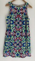 MARA HOFFMAN Amazing Multi Coloured Aztec Printed Shift Dress Size 8 AU10 12