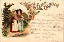 CPA  Gruss aus Elsass-Lothringen - Litho - Folklore - Types  (481412)