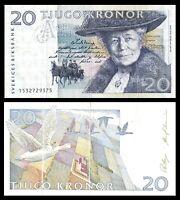 SWEDEN 20 TJUGO KRONER 1988  BANKNOTE SELMA LAGERLOF ~ VF