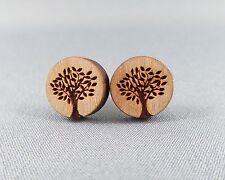 Stud Earrings Wood - Tree