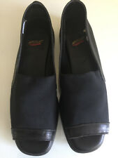 AEROSOLES, OPEN TOE, BLACK SLIP ON SHOES, SIZE 6 1/2  B