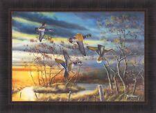 AUTUMN SPLENDOR by Jim Hansel 24x33 Wood Ducks Fall Sunset FRAMED PICTURE HCD