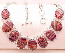 NECKLACE BEAUTIFUL AND UNUSUAL SILVER WITH STONES RED CALSILICA TO LOOK SIEMPRE