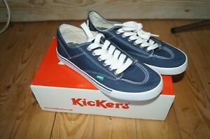 Kickers Lace Up Trainer Pumps Size 40 7 - Sneakie Lo Navy Canvas