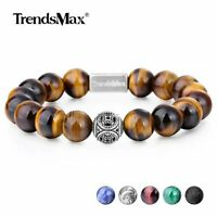 AAA Natural Stone Round Bead Bracelet Gemstone Stretch 925 Sterling Silver Charm