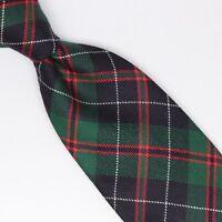 Gladson Mens Wool Necktie Green Blue Red White Holiday Tartan Plaid Check Tie