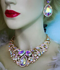 Rhinestone Necklace Earring Set AB Bridal Austrian Crystal Jewery Pageant Prom
