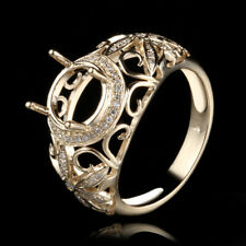 ANTIQUE RING! PAVE 0.25CT DIAMONDS 10K YELLOW GOLD SEMI-MOUNT ENGAGEMENT RING