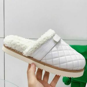 Women's Real Leather Slippers Shoes Warm Wool Shoes Flats Apricot Mules Winter
