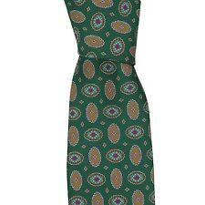 Brioni Italy Mens Orange Paisley Silk Skinny Neck Tie
