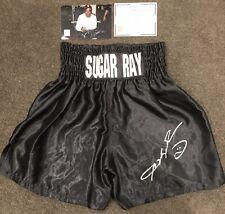SUGAR RAY LEONARD Signed Black Boxing Trunks COA Photo Proof