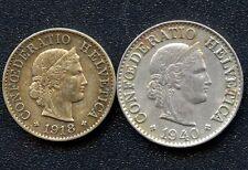 1918 Switzerland 5 Rappen & 1940 10 Rappen Coins