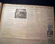 Early TELEVISION TV John Logie Baird TELEVISOR Invention w/ Photo 1926 Newspaper