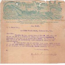 1897 Graphic Letterhead Robert Holmes Farm Machinery & Seeds Danville IL