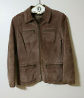 WOMEN'S BROWN SUEDE LEATHER JACKET - I.E. RELAXED SIZE PETITE M