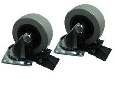 50mm PLAQUE FIXE Simple Roulette Chariot Roue pivotante avec frein 2 paires 4