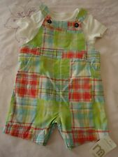 Mothercare baby boys short check dungaree & bodysuit set 6-9M NWT RRP £14