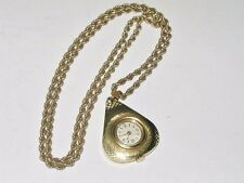 "VINTAGE CARAVELLE HAND WIND NECKLACE WATCH ON A 24"" 12K GOLD FILLED CHAIN"