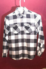 Woman's Black and White plaid flannel Shirt